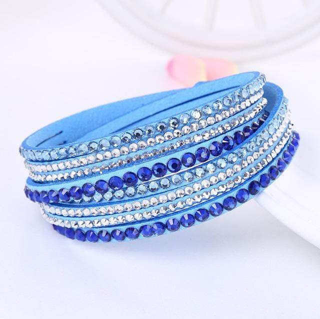 Boho Beach Hut Charm Bracelets Sky Blue / One Size Leather Rhinestone Bracelet