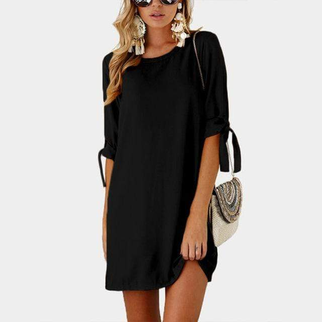 Boho Beach Hut Chic Dress, Summer Dress, Plus Size Black / S Lace-up Bow Tie Pullover Dress