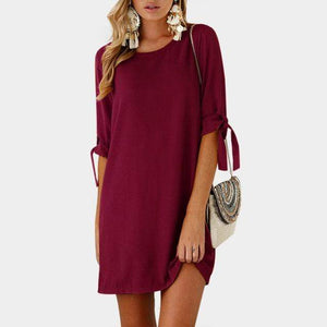 Boho Beach Hut Chic Dress, Summer Dress, Plus Size Burgundy / S Lace-up Bow Tie Pullover Dress