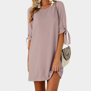 Boho Beach Hut Chic Dress, Summer Dress, Plus Size Pink / S Lace-up Bow Tie Pullover Dress
