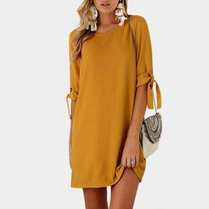 Boho Beach Hut Chic Dress, Summer Dress, Plus Size Yellow / S Lace-up Bow Tie Pullover Dress