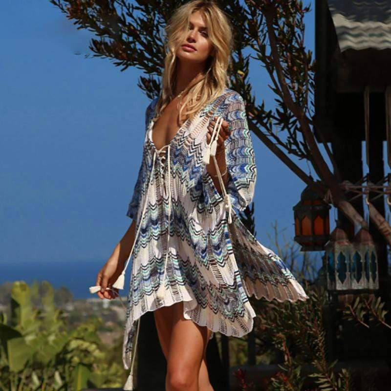 Boho Beach Hut Cover up, Beach Cover up Dress, Beach Dress Blue / One Size Lace Up Oversized Bikini Cover Up