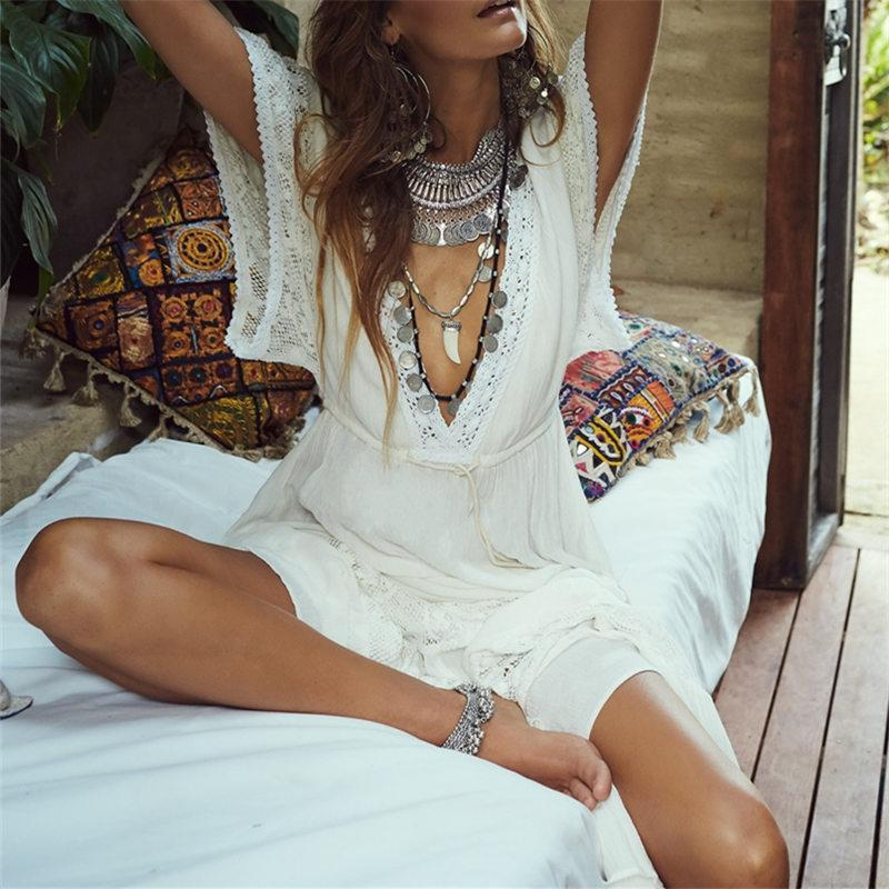 Boho Beach Hut Cover up, Beach Cover up Dress White / One Size Lace Beach Cover Up