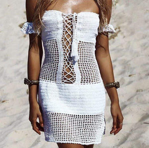 Boho Beach Hut Cover up, Beach Cover up Dress White / One Size Off Shoulder Knit Beach Cover Up
