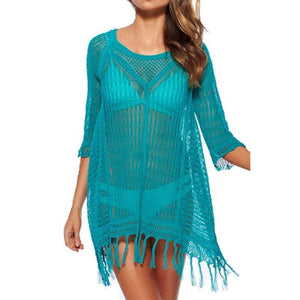 Boho Beach Hut Cover up, Plus Size Blue / One Size Sexy Bikini Beach Cover-up