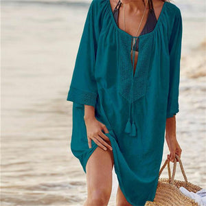 Boho Beach Hut Cover Up, Plus Size Dark Blue / One Size Beach Lace Crochet Cover Up