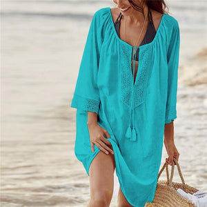 Boho Beach Hut Cover Up, Plus Size Light Blue / One Size Beach Lace Crochet Cover Up