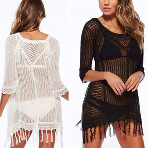 Boho Beach Hut Cover up, Plus Size White / One Size Sexy Bikini Beach Cover-up