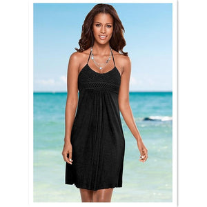 Boho Beach Hut Cover-Ups Black / S Summer Halter Cover Up Dress