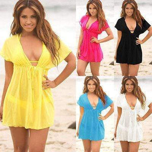 Boho Beach Hut Cover-Ups White / One Size Sexy Deep V Neck Cover Up