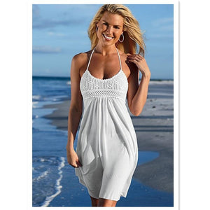Boho Beach Hut Cover-Ups White / S Summer Halter Cover Up Dress