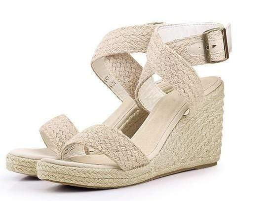 Boho Beach Hut High Heels Beige / 5 High Heel Platform Wedges