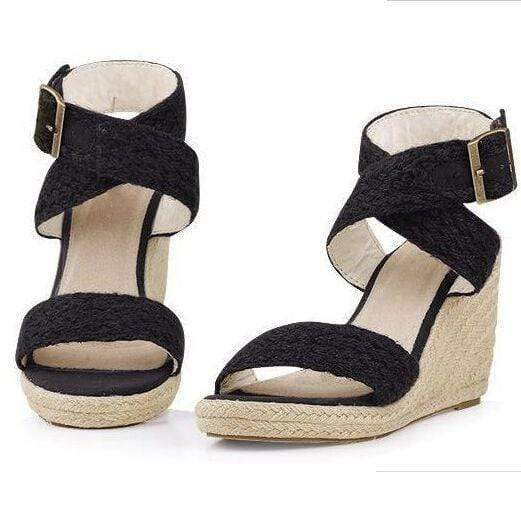 Boho Beach Hut High Heels Black / 5 High Heel Platform Wedges