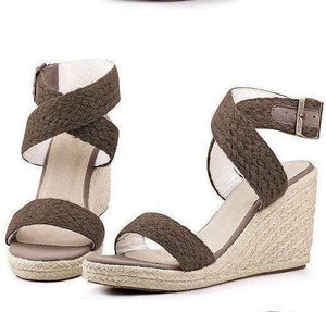 Boho Beach Hut High Heels Brown / 5 High Heel Platform Wedges