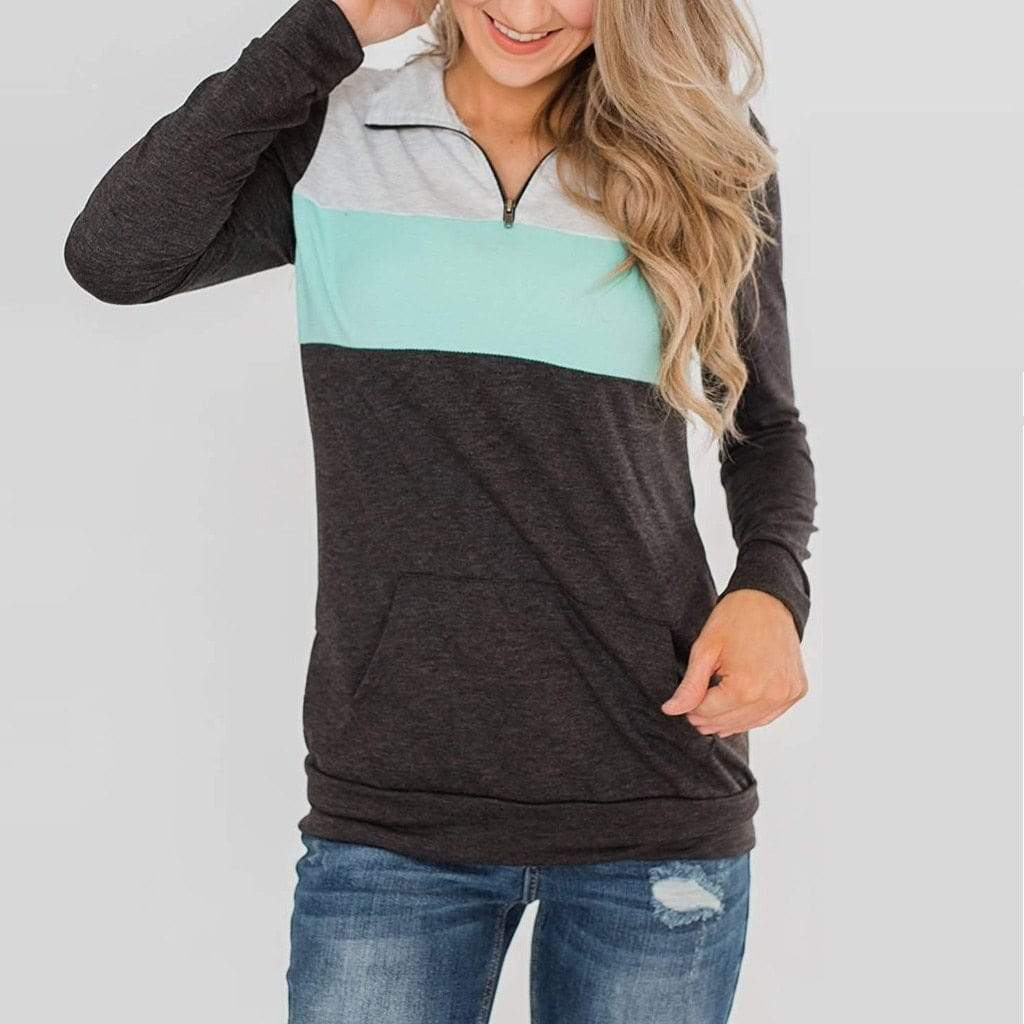 Boho Beach Hut Hoodies & Sweatshirts Long Sleeve Patchwork Pullover