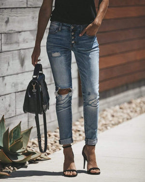 Boho Beach Hut Jeans Bleached Ripped Denim Skinny Jeans