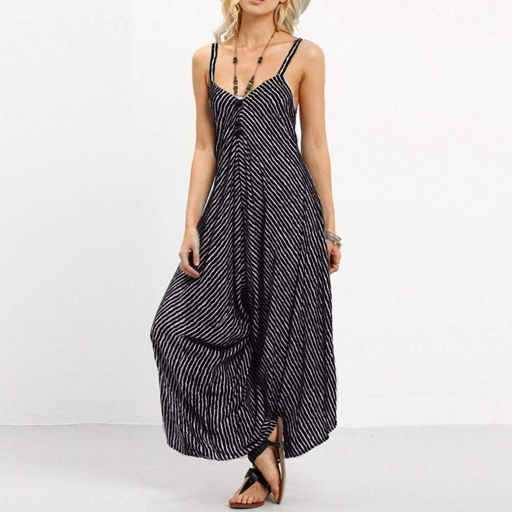 Boho Beach Hut Jumpsuits, Romper Black / S Casual Striped Rompers