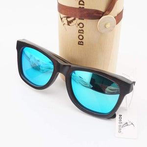 Boho Beach Hut Men's Sunglasses Blue BOBO BIRD Wooden Sunglasses- Polarized Lenses and Case
