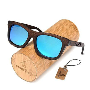 Boho Beach Hut Men's Sunglasses Box 1 BOBO BIRD Wrap Style Wooden Sunglasses with Polarized Lenses
