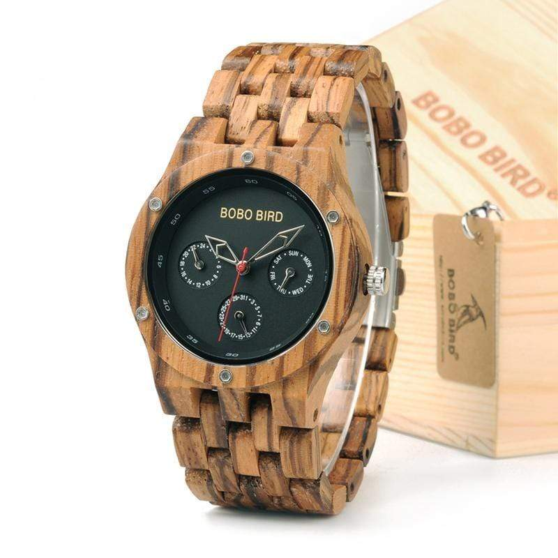 Boho Beach Hut Men's Watches As Shown BOBO BIRD Zebra Wooden Watch With Date