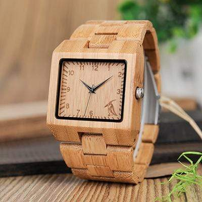 Boho Beach Hut Men's Watches Bamboo BOBO BIRD Wooden Watch with Rectangular Face
