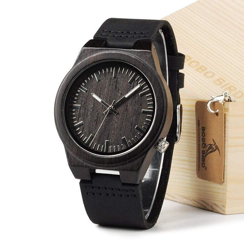 Boho Beach Hut Men's Watches Black BOBO BIRD Natural Bamboo Wooden Watch