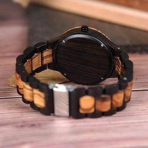 Boho Beach Hut Men's Watches Black BOBO BIRD Two-Tone Ebony Zebra Wooden Watch