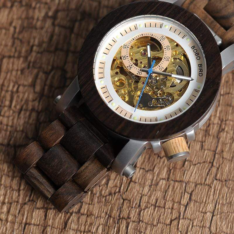 Boho Beach Hut Men's Watches Black BOBO BIRD Wooden Mechanical Watch