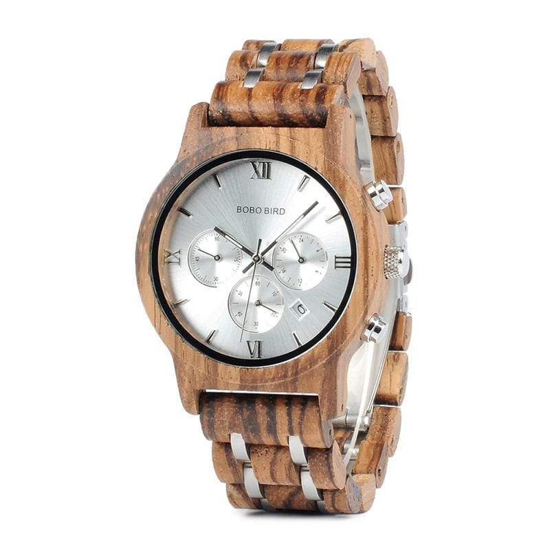 Boho Beach Hut Men's Watches Black BOBO BIRD Zebra Wooden Quartz Watch Date Display