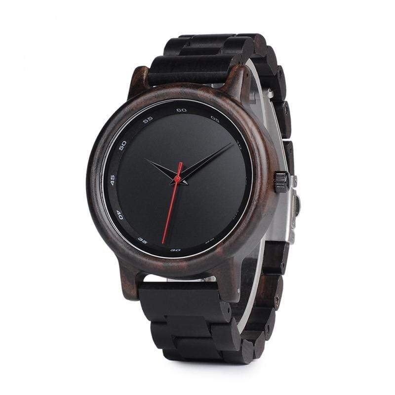 Boho Beach Hut Men's Watches Black Face BOBO BIRD Ebony Wooden Watch Calibration Circle Quartz