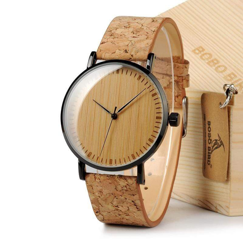 Boho Beach Hut Men's Watches Cork BOBO BIRD Natural Bamboo Wooden Watch