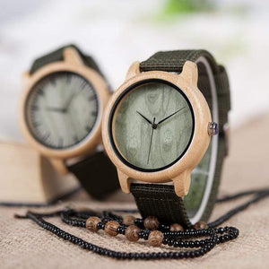 Boho Beach Hut Men's Watches Dials BOBO BIRD Natural Bamboo Wooden Watch Nylon Band