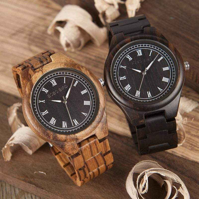 Boho Beach Hut Men's Watches Ebony BOBO BIRD Ebony Zebra Wooden Watch