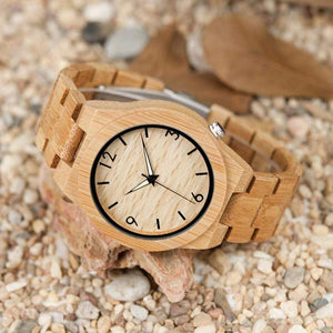 Boho Beach Hut Men's Watches Natural BOBO BIRD Natural Bamboo Wooden Watch