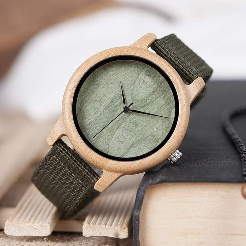 Boho Beach Hut Men's Watches No Dials BOBO BIRD Natural Bamboo Wooden Watch Nylon Band