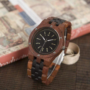 Boho Beach Hut Men's Watches Red/Black BOBO BIRD Wooden Watch