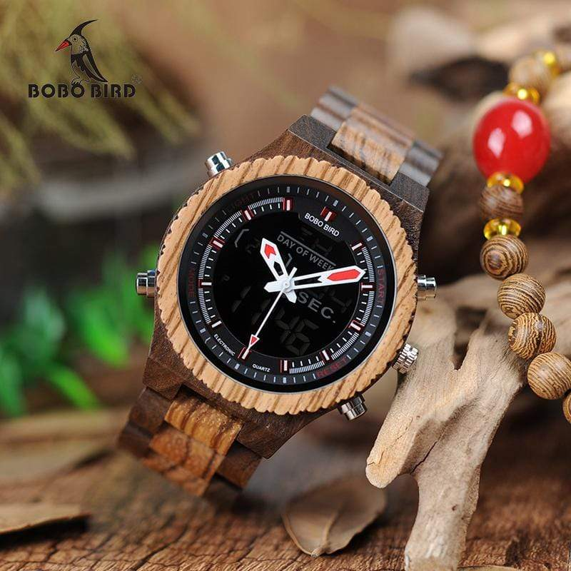 Boho Beach Hut Men's Watches Red Pointer BOBO BIRD Wooden Watch Dual Display