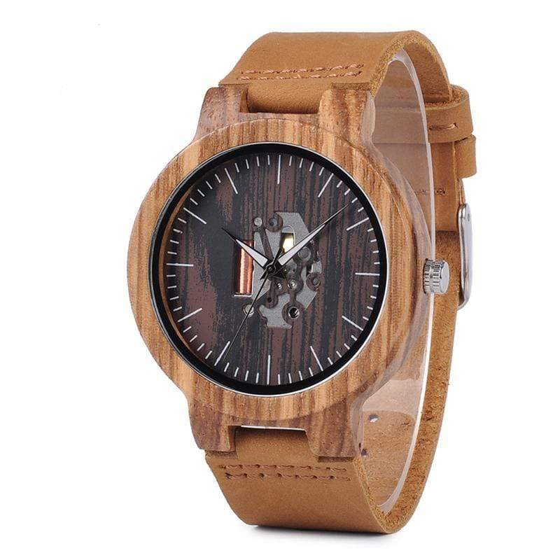 Boho Beach Hut Men's Watches Tan BOBO BIRD Zebra Pattern Quartz Wooden Watch