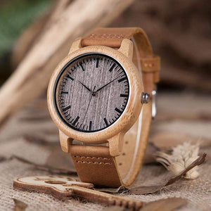 Boho Beach Hut Men's Watches With Scales BOBO BIRD Casual Bamboo Wooden Watch with Quartz