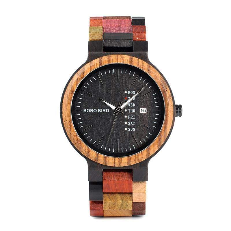 Boho Beach Hut Men's Watches, Women's Watches Red / Men's BOBO BIRD Wooden Quartz Wristwatch Week Display Auto Date Face