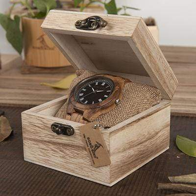 Boho Beach Hut Men's Watches Zebra BOBO BIRD Ebony Zebra Wooden Watch