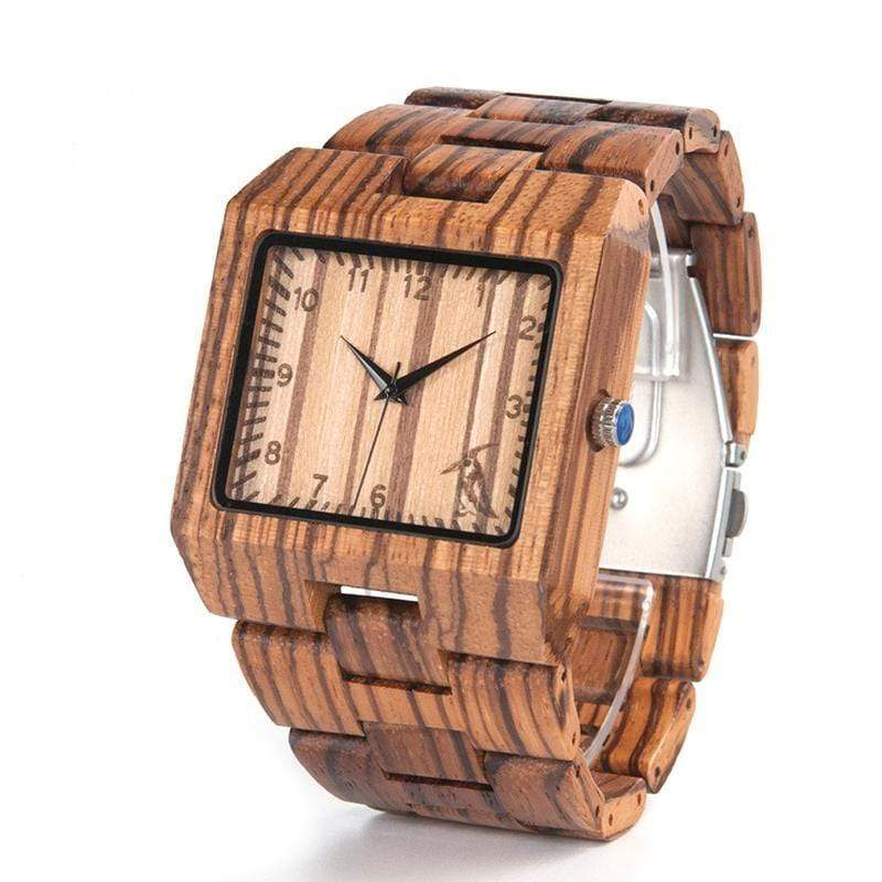 Boho Beach Hut Men's Watches Zebra BOBO BIRD Zebra Wooden Watch Rectangle