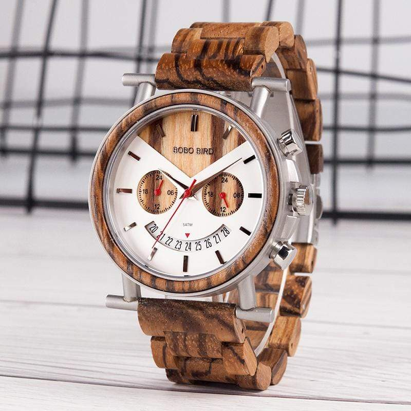 Boho Beach Hut Men's Watches Zebra Wood BOBO BIRD Wooden Stainless Steel Waterproof Wristwatch with Date and Multiple Time Zones