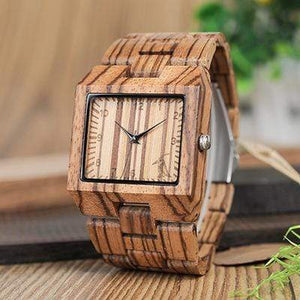 Boho Beach Hut Men's Watches Zebra Wood BOBO BIRD Wooden Watch with Rectangular Face