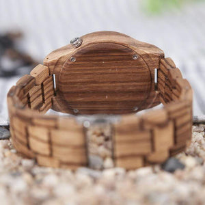 Boho Beach Hut Men's Watches Zebra Wood BOBO BIRD Zebra Full Wood Watch with Wood Band