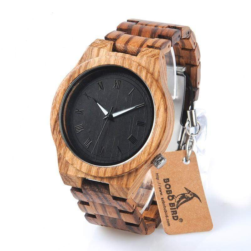 Boho Beach Hut Men's Watches Zebra Wood BOBO BIRD Zebra Wooden Quartz Watch Analog Luminous Pointers