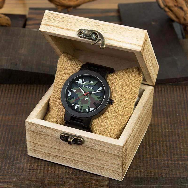 Boho Beach Hut Men's Wooden watches Camo BOBO BIRD Camo Army Green Dial Wooden Quartz Watch