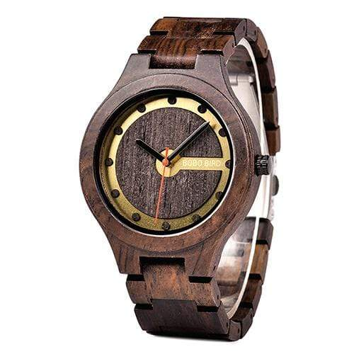 Boho Beach Hut Men's Wooden watches Dark Brown BOBO BIRD Designer Wooden Watch Quartz