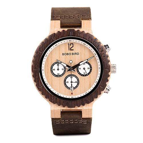 Boho Beach Hut Men's Wooden watches Leather Band BOBO BIRD Two-Tone Wooden Watch with Date Display