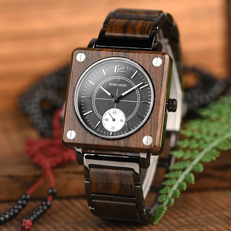 Boho Beach Hut Men's Wooden watches Square 1 BOBO BIRD Luxury Wooden Watch Waterproof